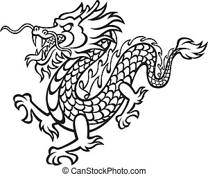 Black and White Dragon - Vector Illustration of a fierce,...