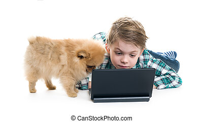The boy with a laptop and a puppy on a white background