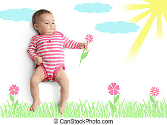 Funny little baby with drawn flower