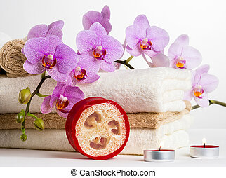 Health spa and flower orchid. Spa treatment - relax with...