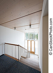 stairway in a ecological wooden office building