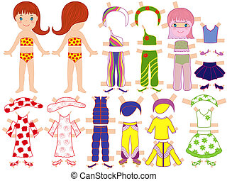 Paper doll and a set of clothing for the summer season with...
