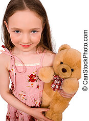 baby with bear toy isolated