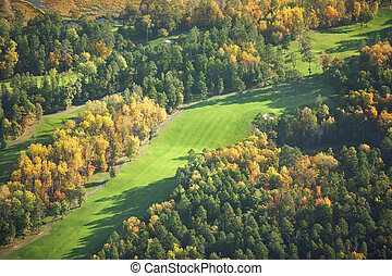 Aerial view of golf course in the fall