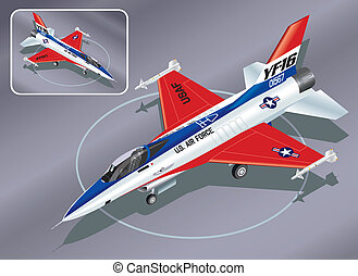 Isometric F-16 Fighter Plane - Detailed Isometric...