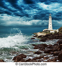 Lighthouse sits on the edge of the Crimean peninsula -...