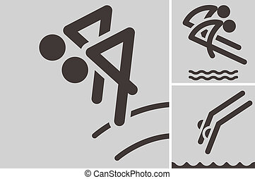 Synchronized diving icons - Summer sports icons set -...