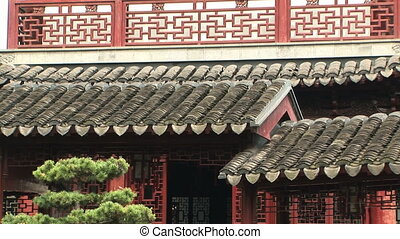 Ornate Rooftop detail - Tiled Chinese roof, Yuyuan Garden,...
