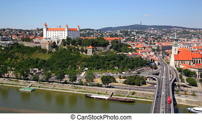 Red roofs and auto junction in summer day, Bratislava,...
