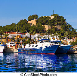 Denia Port with castle hill Alicante province Spain - Denia...