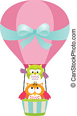 Owls in a Hot Air Balloon - Scalable vectorial image...