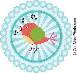 Cute singing bird round sticker