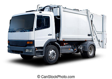 Garbage Truck - White Garbage Truck Isolated with drop...