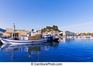 Denia Port with castle hill Alicante province Spain
