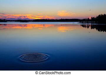 Last splash. Lake Engozero, North Karelia, Russia