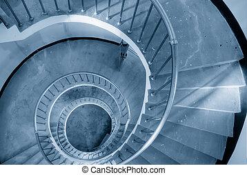 Se mover en espiral, Escaleras