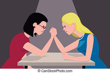 Blond vs. brunette - Brunette and blond women arm wrestling,...