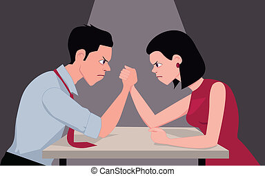 War of sexes - Man and woman arm wrestling, representing...