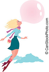 Bubble gum - Cute cartoon girl flying in the air on a bubble...