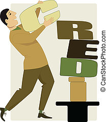 Building credit - Man stacking letters of a word credit,...