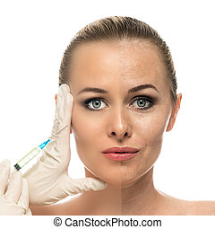 Cosmetic injection to the pretty Beautiful woman face and...