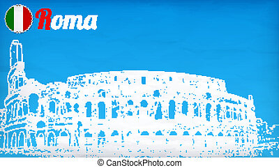 view of the Colosseum Amphitheater in Rome against blue sky...