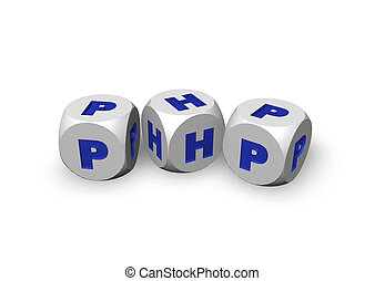 php - three dices with the letters php - 3d illustration