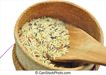 rice   - Assortment of rice in white background