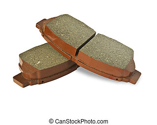 Brake pads - New auto brake pads isolated on white...