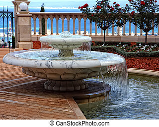 Small fountain - Small decorative fountain in a Bahai...
