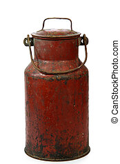 Milk jug - Antique milk jug isolated on white background