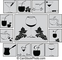 set of drinks in glasses. Vestor