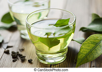 green tea - glass cup with fresh green tea