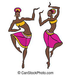 Beautiful asian dancer. Ethno dance. Hand drawn vector...