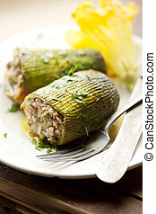 stuffed zuchini - traditional greek stuffed zucchini