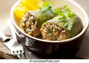 stuffed zuchini - traditional greek stuffed zucchini