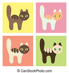 Multicolored cats set.