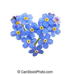Love ya. - Forget me not, little flowers in heart shape,...