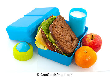lunch box - Healthy filled lunch box with whole meal bread...