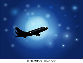 The aircraft silhouette on in the night sky and the moon background. Vector EPS10.