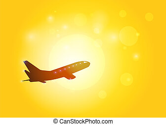 The aircraft silhouette on sunset background. Vector EPS10.