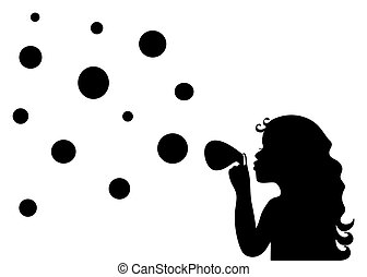 Silhouette of a little girl blowing soap bubbles isolated in...
