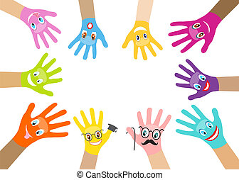 Collection of multicolored hands with smiles on the...