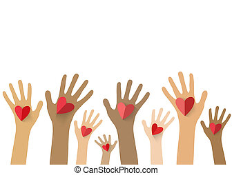 Collection of multicolored hands holding red heart. Vector...
