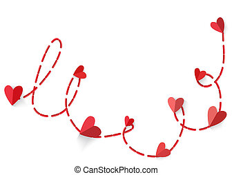Heart with long shadow connected red dotted line isolated on...