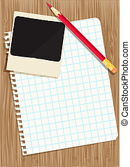 Red pencil, photography and sheet exercise book on a wooden table. Vintage background vector EPS10.