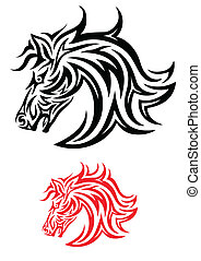 Horse face tribal - Horse face art tattoo design