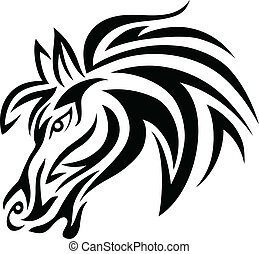 Horse face art tattoo design