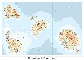 Map of unidentified islands - Map illustration of a group of...