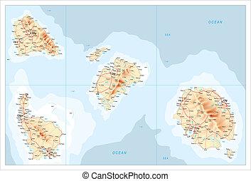 carte, non identifié, îles